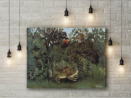 Henri Rousseau The Hungry Lion Throws Itself on the Antelope. Fine Art Canvas.
